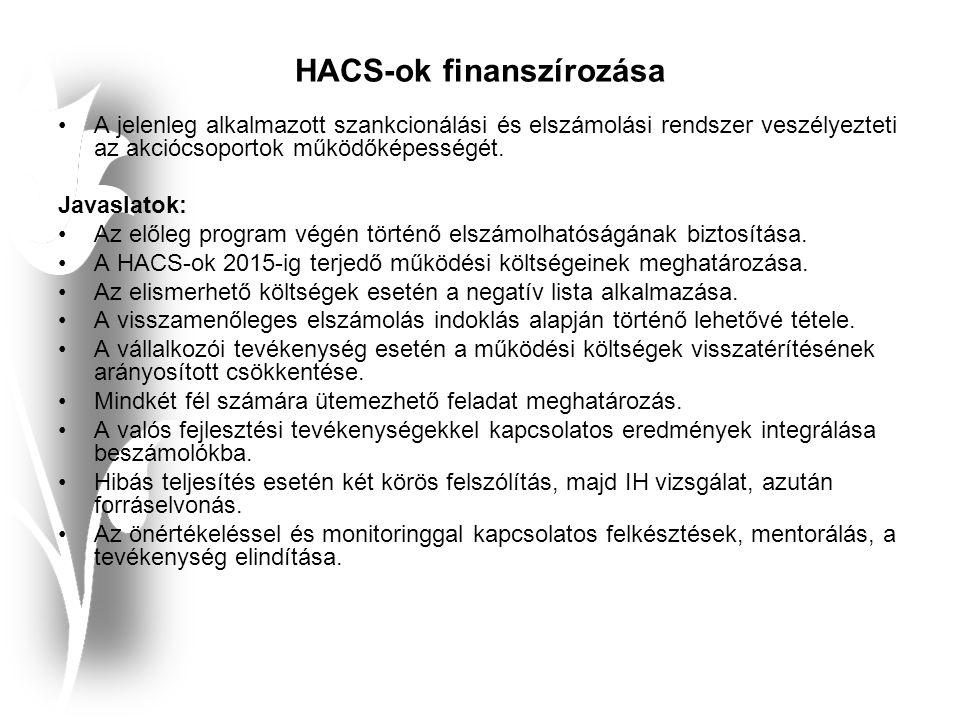 HACS-ok finanszírozása A jelenleg alkalmazott szankcionálási és elszámolási rendszer veszélyezteti az akciócsoportok működőképességét.