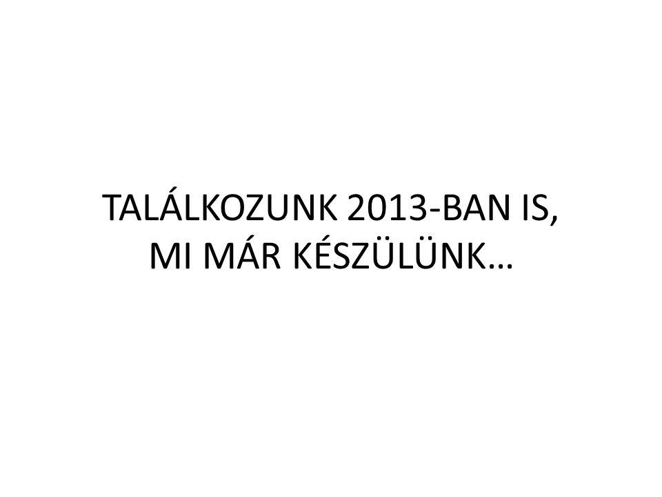 TALÁLKOZUNK 2013-BAN IS, MI MÁR KÉSZÜLÜNK…
