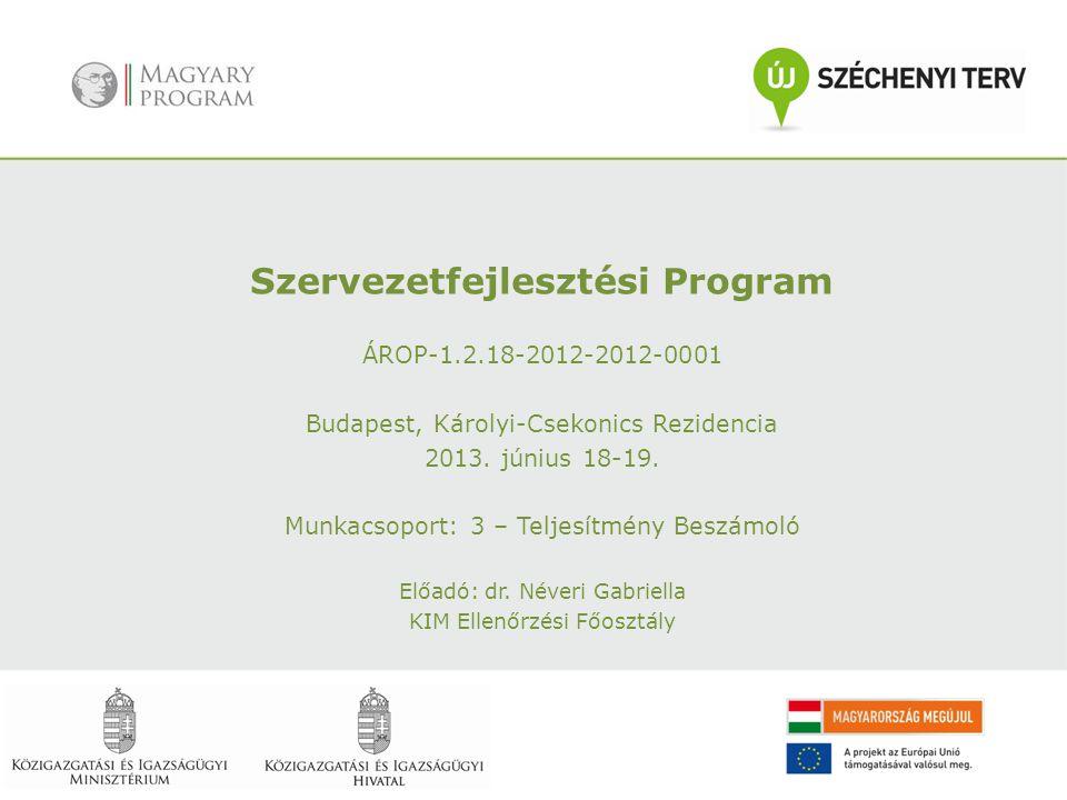 Szervezetfejlesztési Program ÁROP-1.2.18-2012-2012-0001 Budapest, Károlyi-Csekonics Rezidencia 2013. június 18-19. Munkacsoport: 3 – Teljesítmény Besz