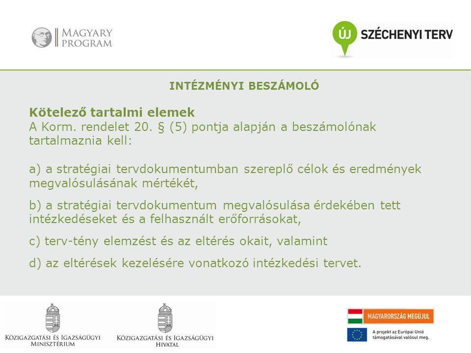 Kötelező tartalmi elemek A Korm. rendelet 20. § (5) pontja alapján a beszámolónak tartalmaznia kell: a) a stratégiai tervdokumentumban szereplő célok