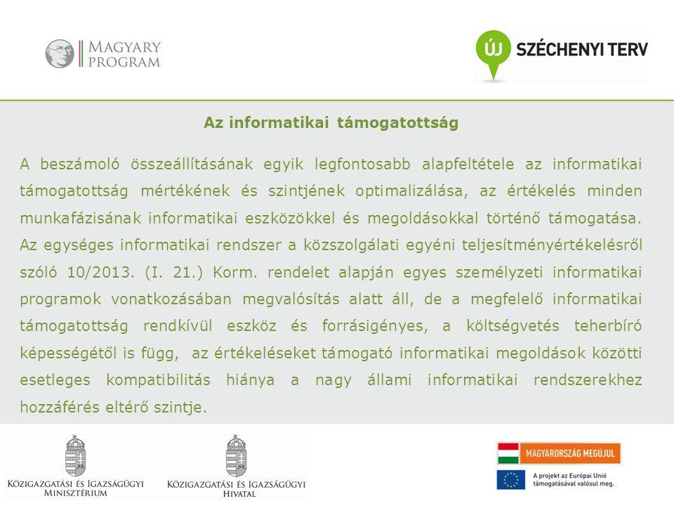 Az informatikai támogatottság A beszámoló összeállításának egyik legfontosabb alapfeltétele az informatikai támogatottság mértékének és szintjének opt