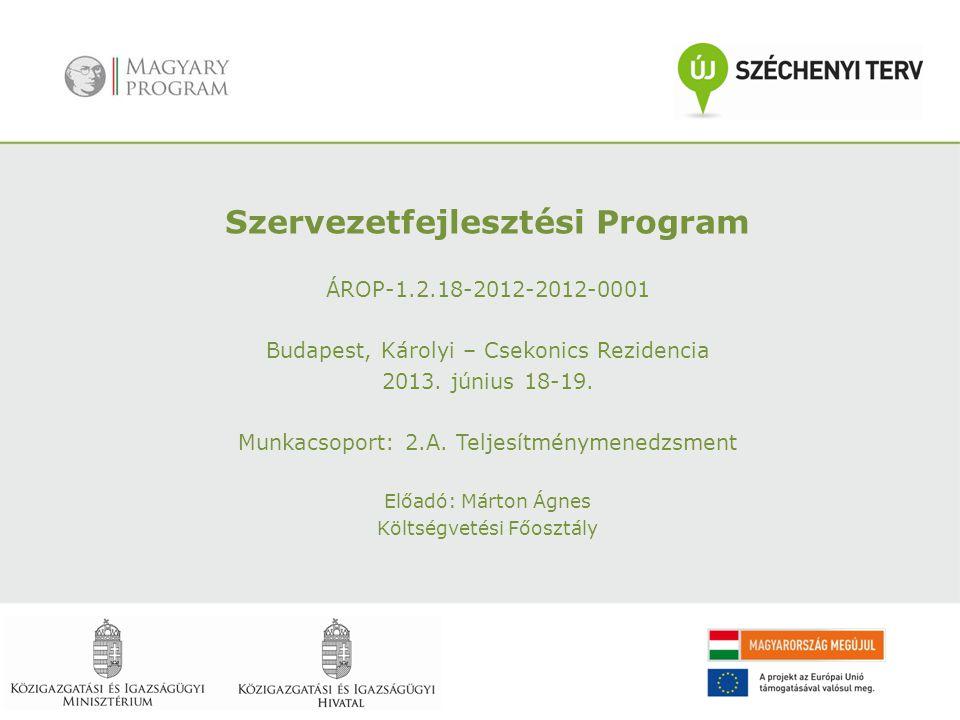 Szervezetfejlesztési Program ÁROP-1.2.18-2012-2012-0001 Budapest, Károlyi – Csekonics Rezidencia 2013. június 18-19. Munkacsoport: 2.A. Teljesítményme