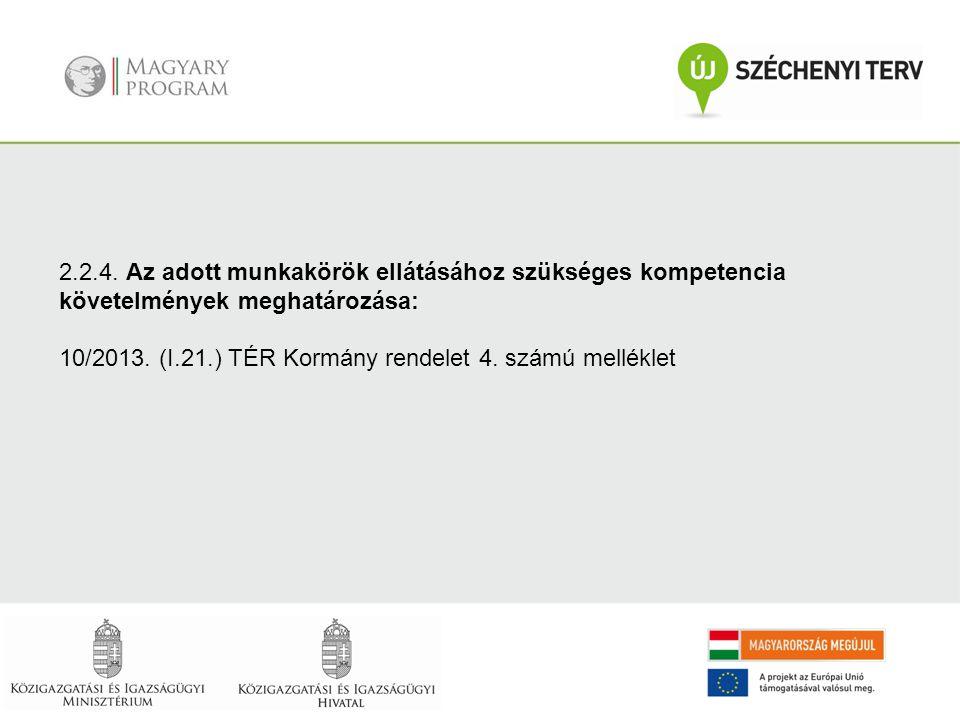 2.2.4. Az adott munkakörök ellátásához szükséges kompetencia követelmények meghatározása: 10/2013. (I.21.) TÉR Kormány rendelet 4. számú melléklet