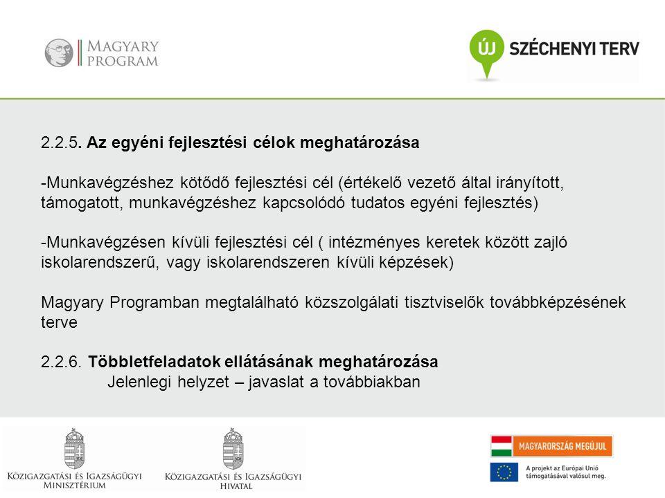 2.2.5. Az egyéni fejlesztési célok meghatározása -Munkavégzéshez kötődő fejlesztési cél (értékelő vezető által irányított, támogatott, munkavégzéshez