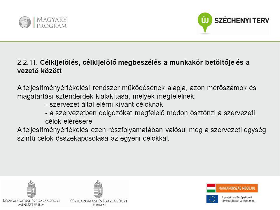 2.2.11. Célkijelölés, célkijelölő megbeszélés a munkakör betöltője és a vezető között A teljesítményértékelési rendszer működésének alapja, azon mérős
