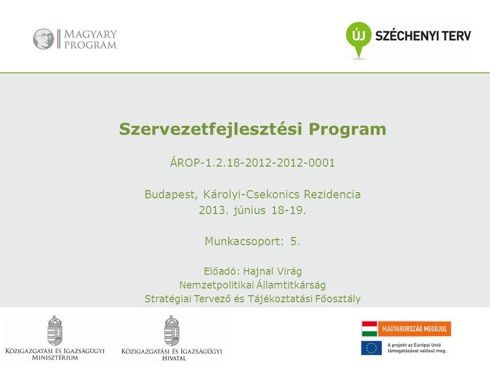 Szervezetfejlesztési Program ÁROP-1.2.18-2012-2012-0001 Budapest, Károlyi-Csekonics Rezidencia 2013. június 18-19. Munkacsoport: 5. Előadó: Hajnal Vir