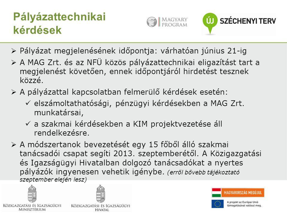 Pályázattechnikai kérdések  Pályázat megjelenésének időpontja: várhatóan június 21-ig  A MAG Zrt. és az NFÜ közös pályázattechnikai eligazítást tart