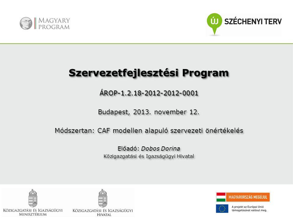 Szervezetfejlesztési Program ÁROP-1.2.18-2012-2012-0001 Budapest, 2013. november 12. Módszertan: CAF modellen alapuló szervezeti önértékelés Előadó: D