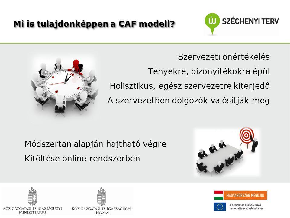 Mi is tulajdonképpen a CAF modell? Szervezeti önértékelés Tényekre, bizonyítékokra épül Holisztikus, egész szervezetre kiterjedő A szervezetben dolgoz