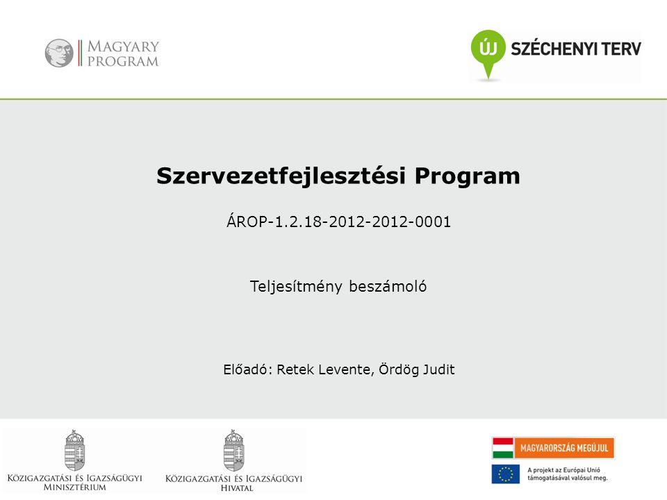 Szervezetfejlesztési Program ÁROP-1.2.18-2012-2012-0001 Teljesítmény beszámoló Előadó: Retek Levente, Ördög Judit