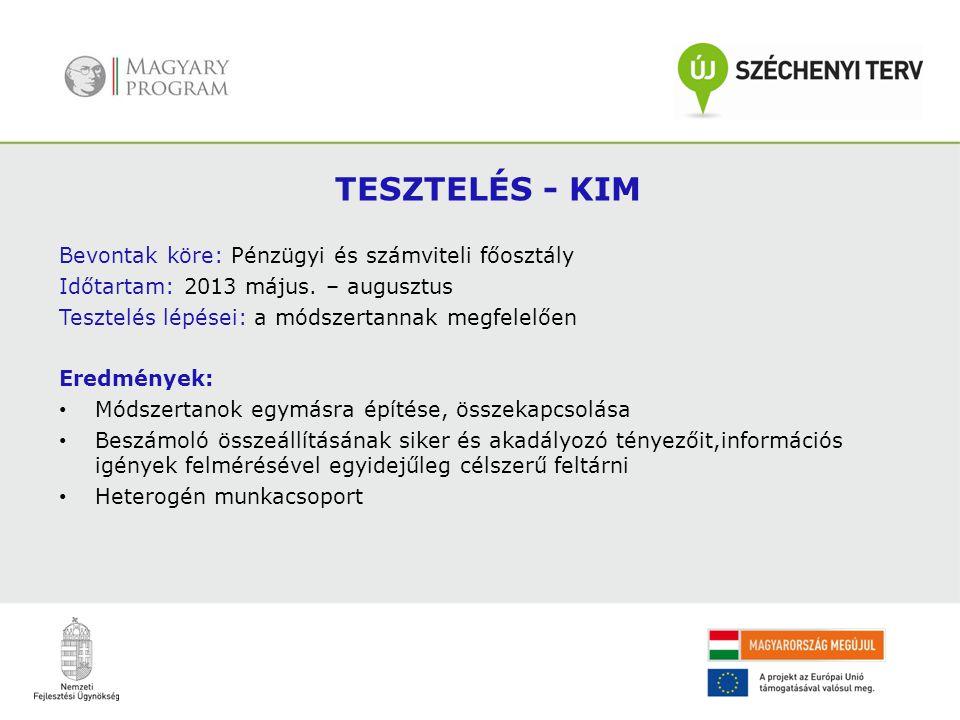 TESZTELÉS - KIM Bevontak köre: Pénzügyi és számviteli főosztály Időtartam: 2013 május. – augusztus Tesztelés lépései: a módszertannak megfelelően Ered