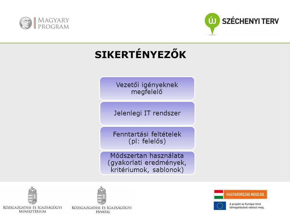 Vezetői igényeknek megfelelő Jelenlegi IT rendszer Fenntartási feltételek (pl: felelős) Módszertan használata (gyakorlati eredmények, kritériumok, sab