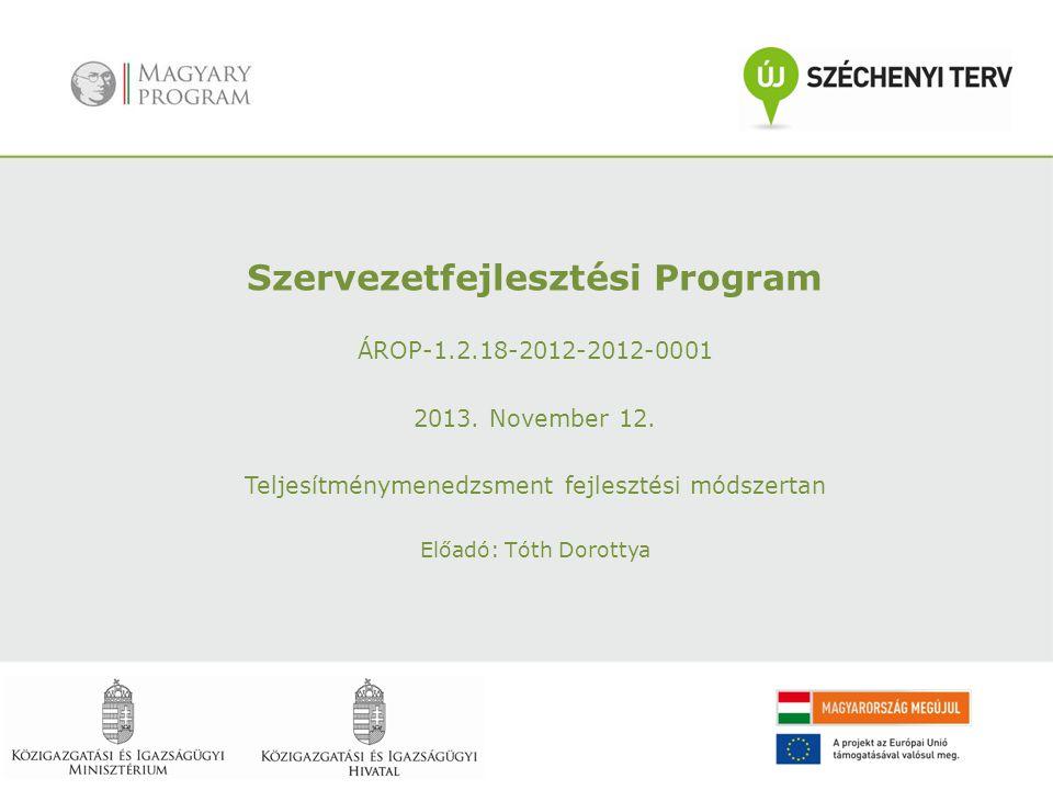 Szervezetfejlesztési Program ÁROP-1.2.18-2012-2012-0001 2013.