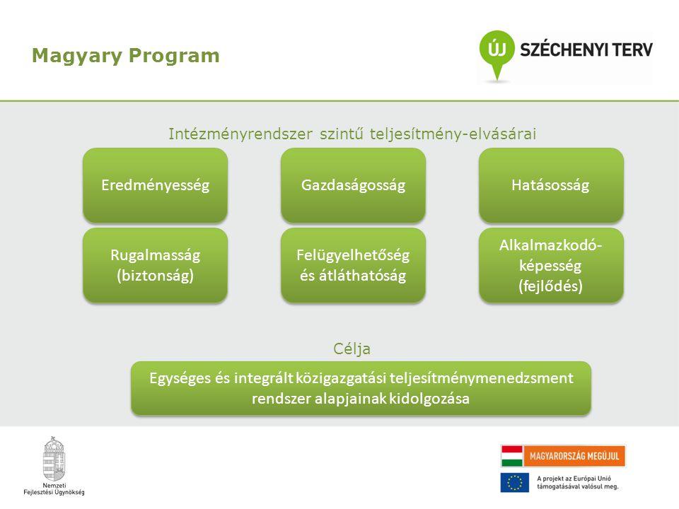 Intézményrendszer szintű teljesítmény-elvásárai Célja Magyary Program Rugalmasság (biztonság) Alkalmazkodó- képesség (fejlődés) Felügyelhetőség és átláthatóság Hatásosság Gazdaságosság Eredményesség Egységes és integrált közigazgatási teljesítménymenedzsment rendszer alapjainak kidolgozása