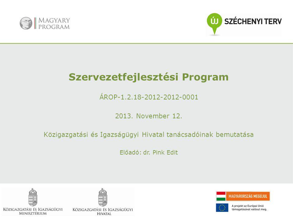 Szervezetfejlesztési Program ÁROP-1.2.18-2012-2012-0001 2013. November 12. Közigazgatási és Igazságügyi Hivatal tanácsadóinak bemutatása Előadó: dr. P