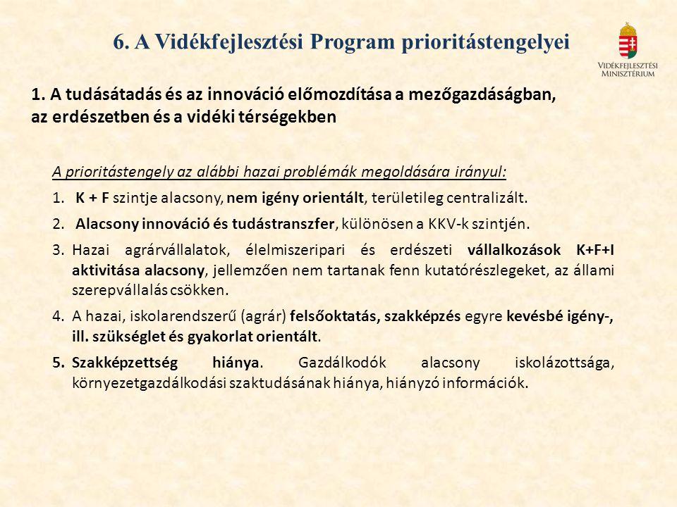 1. A tudásátadás és az innováció előmozdítása a mezőgazdáságban, az erdészetben és a vidéki térségekben A prioritástengely az alábbi hazai problémák m
