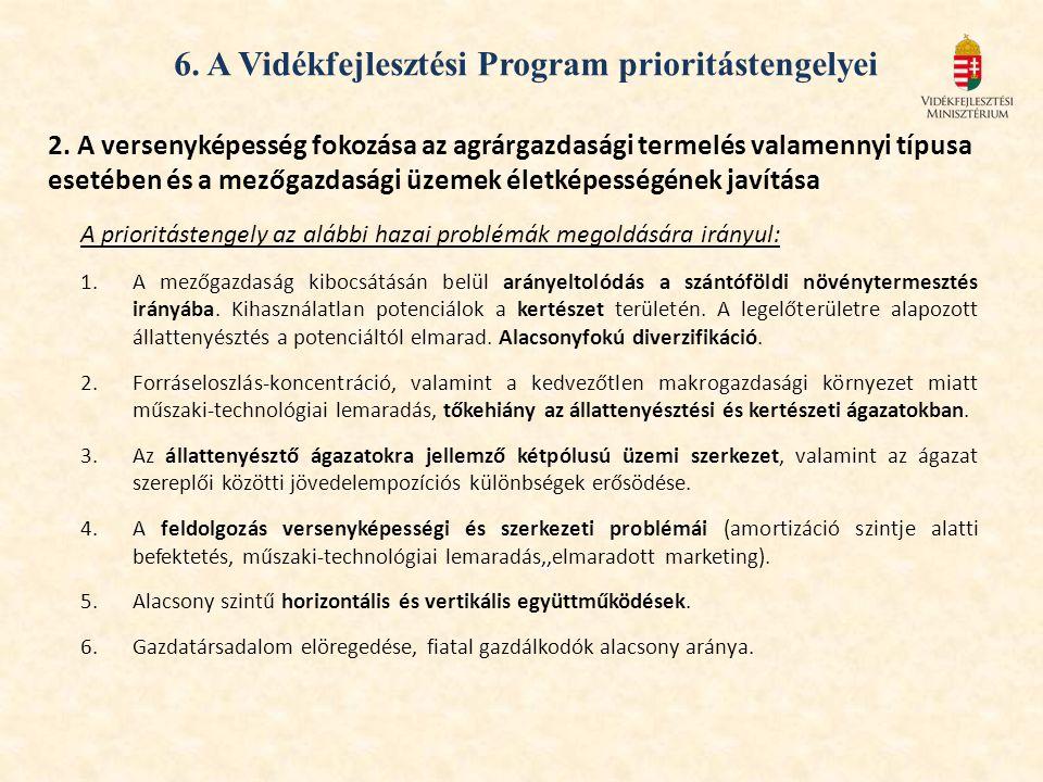 6. A Vidékfejlesztési Program prioritástengelyei 2. A versenyképesség fokozása az agrárgazdasági termelés valamennyi típusa esetében és a mezőgazdaság