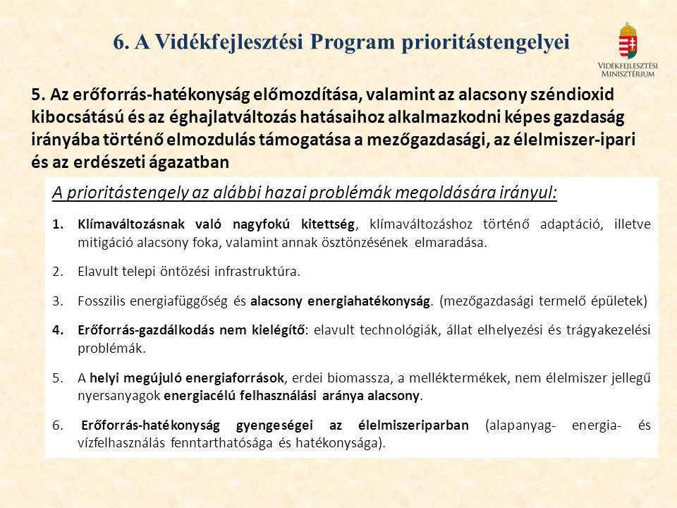 6. A Vidékfejlesztési Program prioritástengelyei 5. Az erőforrás-hatékonyság előmozdítása, valamint az alacsony széndioxid kibocsátású és az éghajlatv