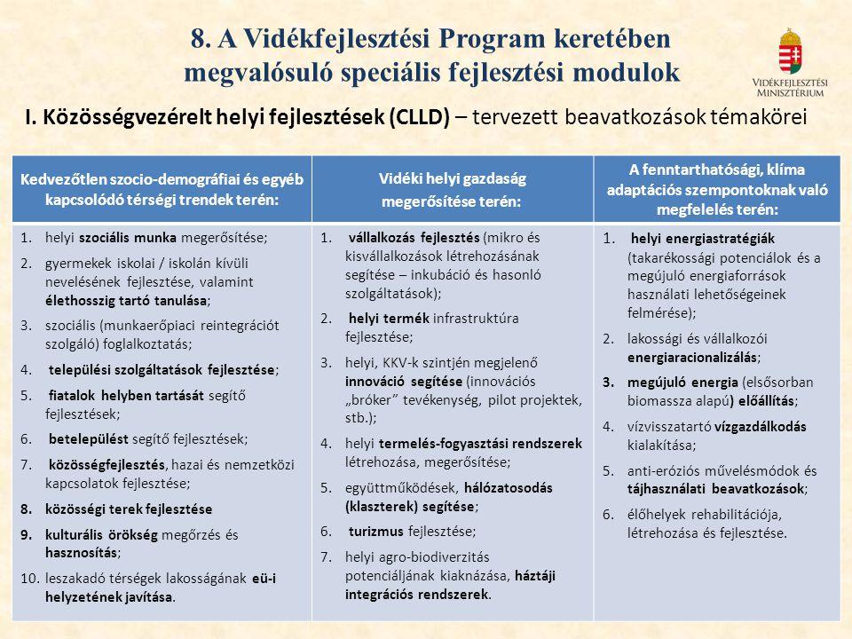 8. A Vidékfejlesztési Program keretében megvalósuló speciális fejlesztési modulok I. Közösségvezérelt helyi fejlesztések (CLLD) – tervezett beavatkozá