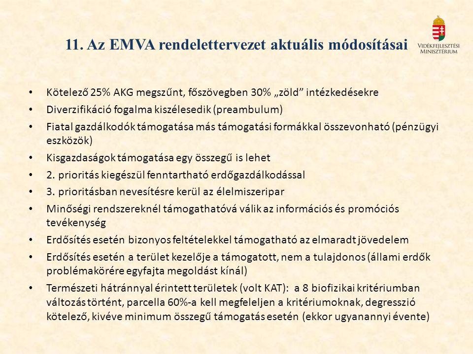 """11. Az EMVA rendelettervezet aktuális módosításai Kötelező 25% AKG megszűnt, főszövegben 30% """"zöld"""" intézkedésekre Diverzifikáció fogalma kiszélesedik"""