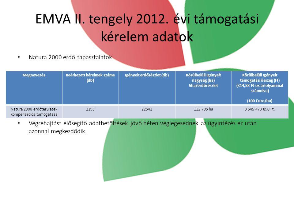 EMVA II. tengely 2012. évi támogatási kérelem adatok Natura 2000 erdő tapasztalatok Végrehajtást elősegítő adatbetöltések jövő héten véglegesednek az