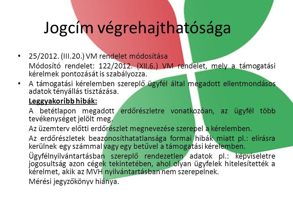 Jogcím végrehajthatósága 25/2012. (III.20.) VM rendelet módosítása Módosító rendelet: 122/2012. (XII.6.) VM rendelet, mely a támogatási kérelmek ponto