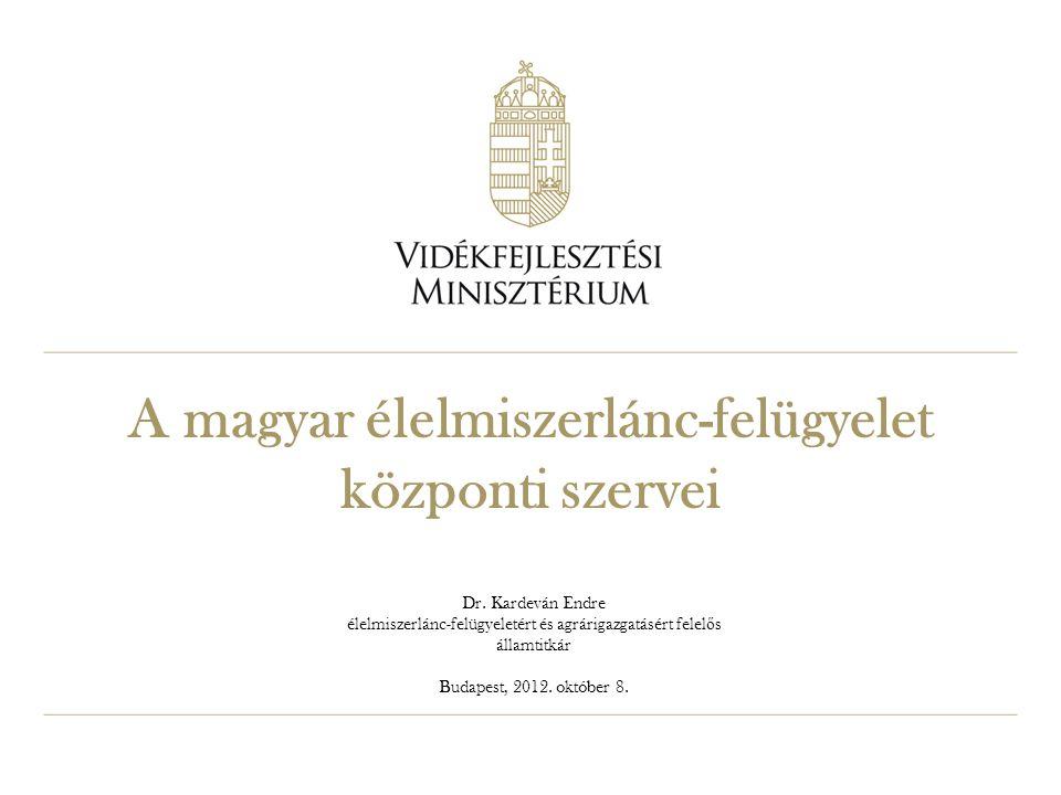 A magyar élelmiszerlánc-felügyelet központi szervei Dr. Kardeván Endre élelmiszerlánc-felügyeletért és agrárigazgatásért felel ő s államtitkár Budapes