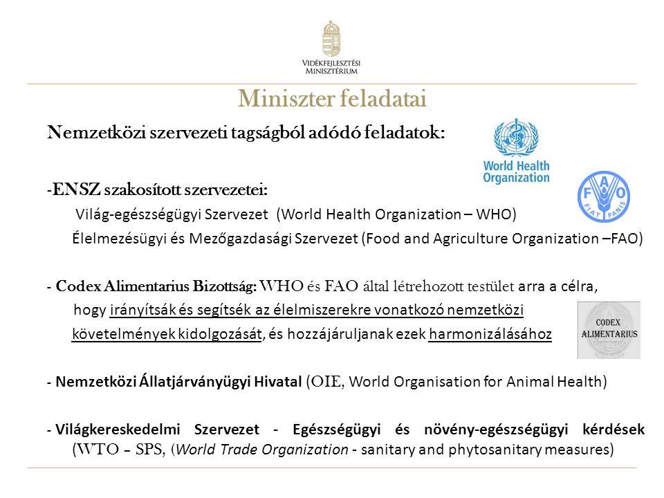 10 Miniszter feladatai Nemzetközi szervezeti tagságból adódó feladatok: -ENSZ szakosított szervezetei: Világ-egészségügyi Szervezet (World Health Orga