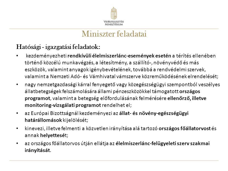 12 Miniszter feladatai Hatósági - igazgatási feladatok: kezdeményezheti rendkívüli élelmiszerlánc-események esetén a térítés ellenében történő közcélú