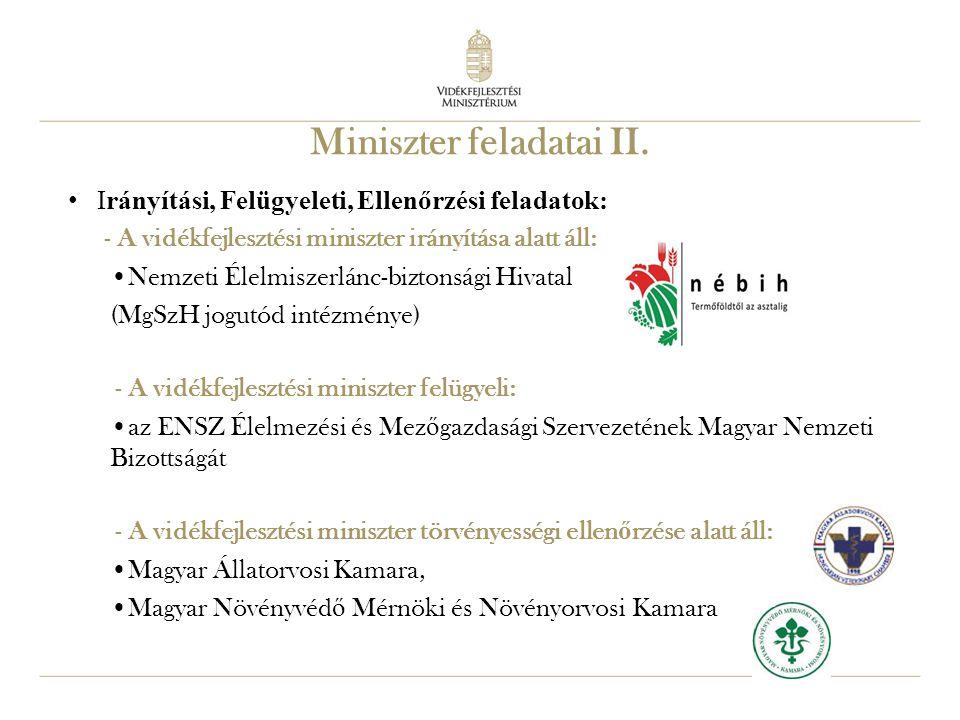 13 Miniszter feladatai II. Irányítási, Felügyeleti, Ellenőrzési feladatok: - A vidékfejlesztési miniszter irányítása alatt áll: Nemzeti Élelmiszerlánc