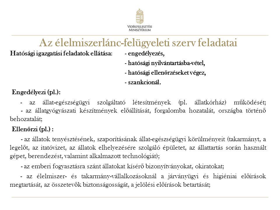 21 Az élelmiszerlánc-felügyeleti szerv feladatai Hatósági igazgatási feladatok ellátása : - engedélyezés, - hatósági nyilvántartásba-vétel, - hatósági