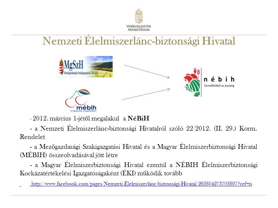 25 Nemzeti Élelmiszerlánc-biztonsági Hivatal - 2012. március 1-jét ő l megalakul a NéBiH - a Nemzeti Élelmiszerlánc-biztonsági Hivatalról szóló 22/201