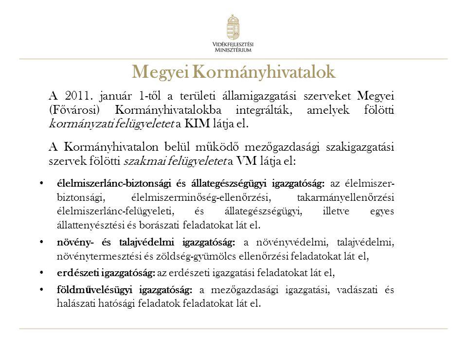 31 A 2011. január 1-t ő l a területi államigazgatási szerveket Megyei (F ő városi) Kormányhivatalokba integrálták, amelyek fölötti kormányzati felügye