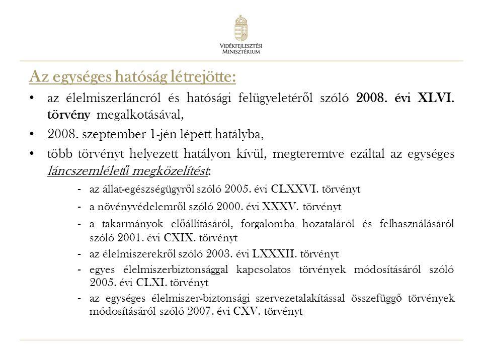 4 Az egységes hatóság létrejötte: az élelmiszerláncról és hatósági felügyeletér ő l szóló 2008. évi XLVI. törvény megalkotásával, 2008. szeptember 1-j