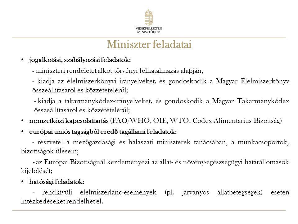 9 Miniszter feladatai jogalkotási, szabályozási feladatok: - miniszteri rendeletet alkot törvényi felhatalmazás alapján, - kiadja az élelmiszerkönyvi