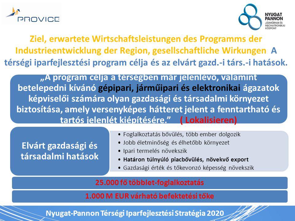 Nyugat-Pannon Térségi Iparfejlesztési Stratégia 2020 Ziel, erwartete Wirtschaftsleistungen des Programms der Industrieentwicklung der Region, gesellsc