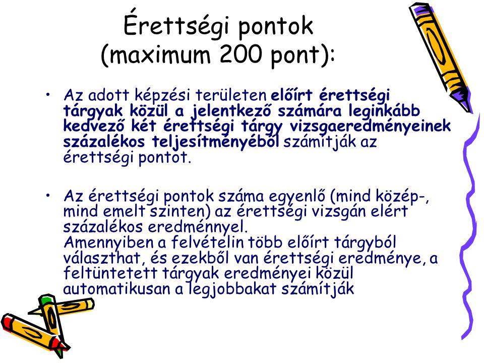 Érettségi pontok (maximum 200 pont): Az adott képzési területen előírt érettségi tárgyak közül a jelentkező számára leginkább kedvező két érettségi tárgy vizsgaeredményeinek százalékos teljesítményéből számítják az érettségi pontot.