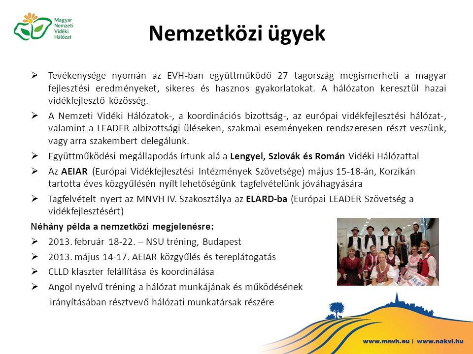 Nemzetközi ügyek  Tevékenysége nyomán az EVH-ban együttműködő 27 tagország megismerheti a magyar fejlesztési eredményeket, sikeres és hasznos gyakorlatokat.