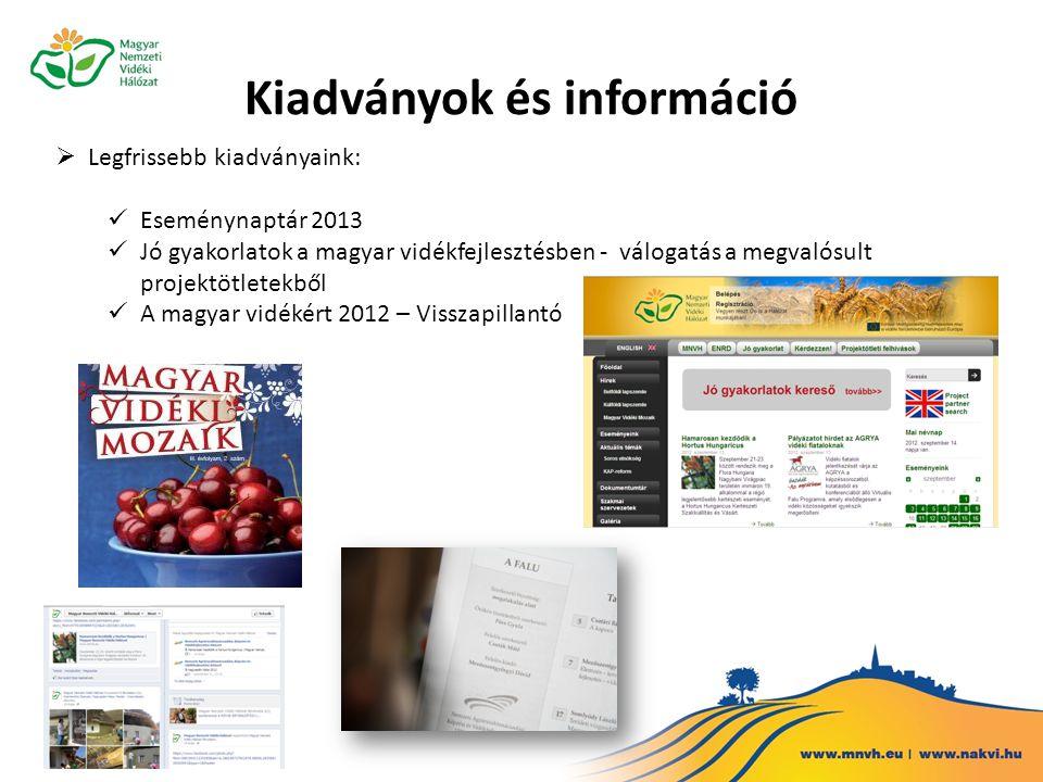 Kiadványok és információ  Legfrissebb kiadványaink: Eseménynaptár 2013 Jó gyakorlatok a magyar vidékfejlesztésben - válogatás a megvalósult projektötletekből A magyar vidékért 2012 – Visszapillantó