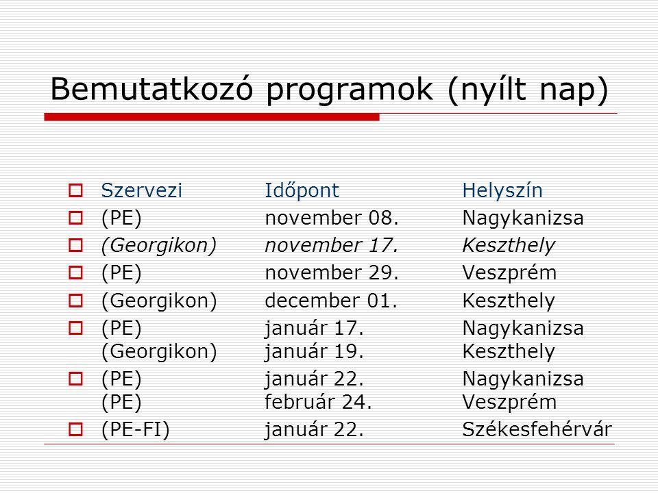 Bemutatkozó programok (nyílt nap)  SzerveziIdőpontHelyszín  (PE)november 08.Nagykanizsa  (Georgikon) november 17.Keszthely  (PE) november 29.