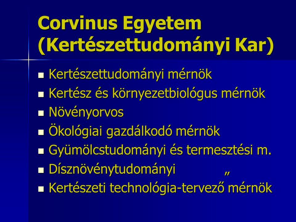 Corvinus Egyetem (Kertészettudományi Kar) Kertészettudományi mérnök Kertészettudományi mérnök Kertész és környezetbiológus mérnök Kertész és környezet