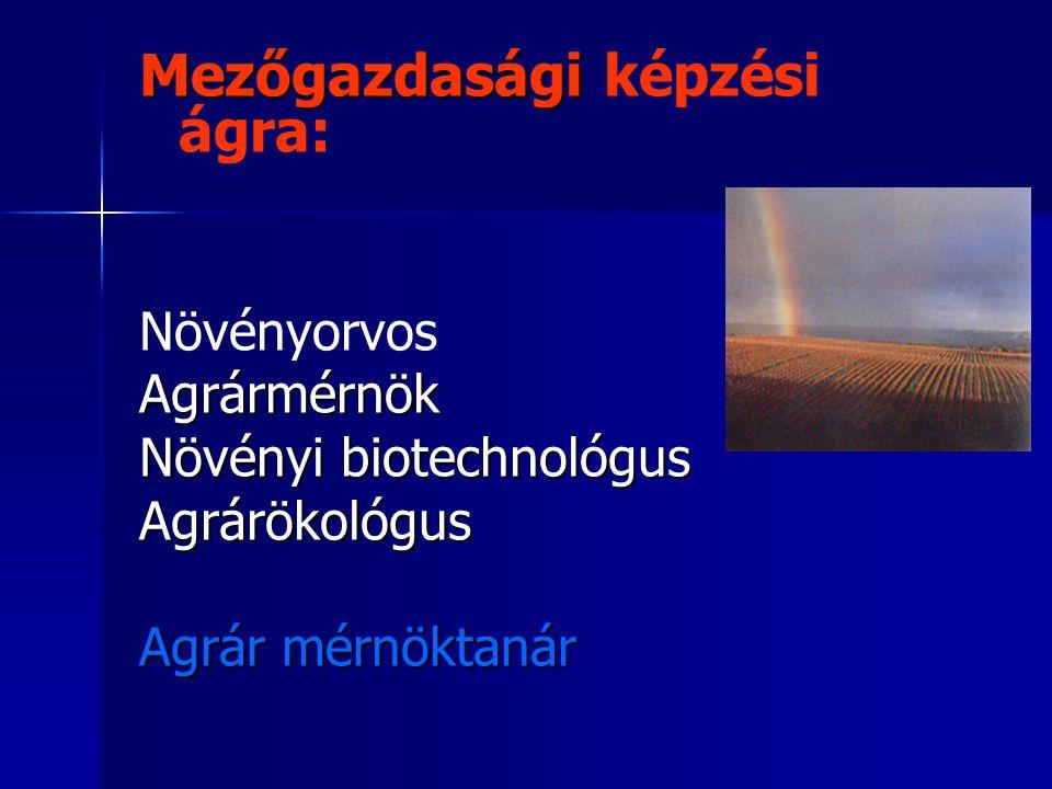 Mezőgazdasági Mezőgazdasági képzési ágra: NövényorvosAgrármérnök Növényi biotechnológus Agrárökológus Agrár mérnöktanár