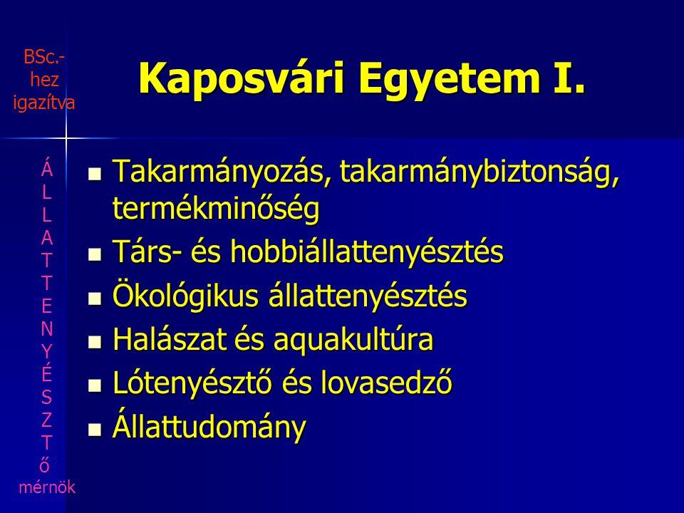 Kaposvári Egyetem I. Takarmányozás, takarmánybiztonság, termékminőség Takarmányozás, takarmánybiztonság, termékminőség Társ- és hobbiállattenyésztés T