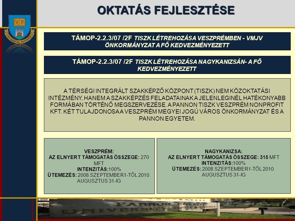 OKTATÁS FEJLESZTÉSE TÁMOP-2.2.3/07 /2F TÁMOP-2.2.3/07 /2F TISZK LÉTREHOZÁSA VESZPRÉMBEN - VMJV ÖNKORMÁNYZAT A FŐ KEDVEZMÉNYEZETT A TÉRSÉGI INTEGRÁLT S