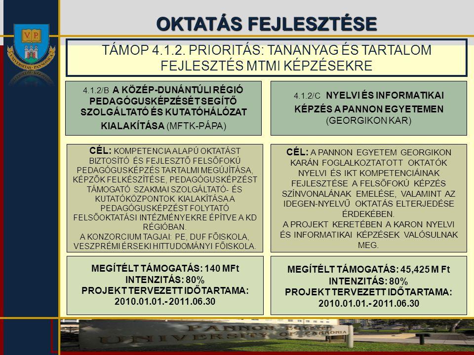 OKTATÁS FEJLESZTÉSE 4.1.2/B A KÖZÉP-DUNÁNTÚLI RÉGIÓ PEDAGÓGUSKÉPZÉSÉT SEGÍTŐ SZOLGÁLTATÓ ÉS KUTATÓHÁLÓZAT KIALAKÍTÁSA (MFTK-PÁPA) 4.1.2/C NYELVI ÉS IN