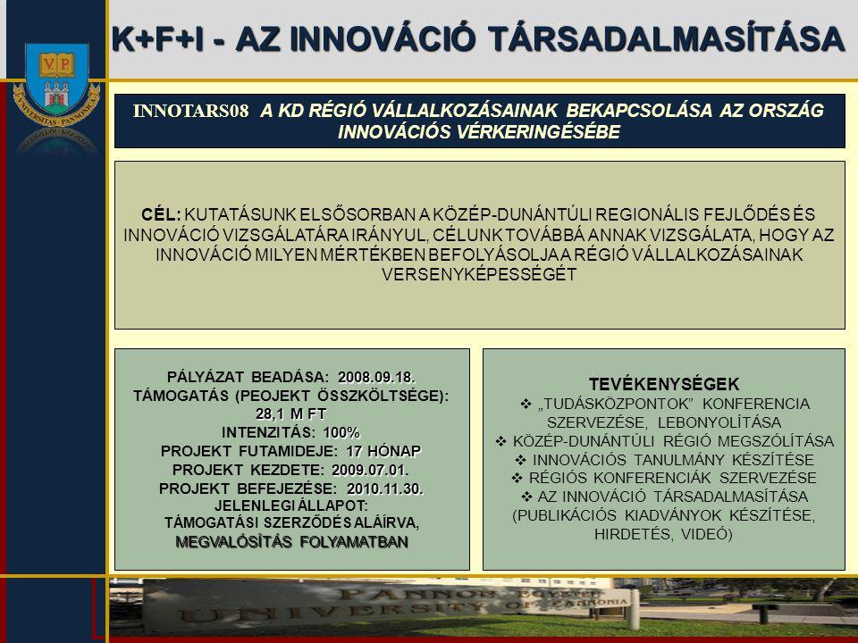 K+F+I -AZ INNOVÁCIÓ TÁRSADALMASÍTÁSA K+F+I - AZ INNOVÁCIÓ TÁRSADALMASÍTÁSA INNOTARS08 INNOTARS08 A KD RÉGIÓ VÁLLALKOZÁSAINAK BEKAPCSOLÁSA AZ ORSZÁG IN