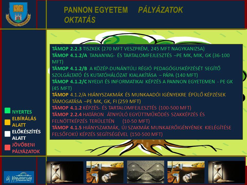 PANNON EGYETEM PÁLYÁZATOK TUDÁSTRANSZFER INFRASTRUKTÚRA HR SZERVEZETI STRUKTÚRA OKTATÁS K+F+INNOVÁCIÓ TUDÁSTRANSZFER GAZDÁLKODÁS, VAGYON- GAZDÁLKODÁS TÁMOP 3.2.4 TUDÁSDEPÓ-EXPRESSZ KÖNYVTÁRFEJLESZTÉS (112,1 MFT) TÁMOP 4.2.3 TUDOMÁNYOS EREDMÉNYEK DISSZEMINÁCIÓJA (168 MFT) TÁMOP-4.2.1.