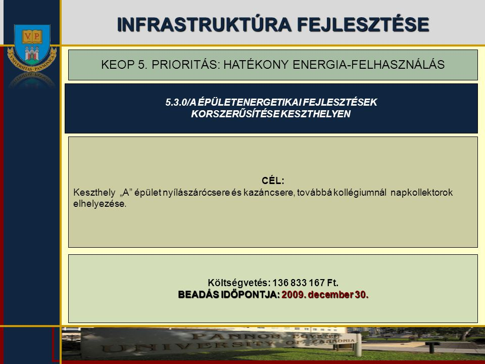 INFRASTRUKTÚRA FEJLESZTÉSE KEOP 5. PRIORITÁS: HATÉKONY ENERGIA-FELHASZNÁLÁS Költségvetés: 136 833 167 Ft. BEADÁS IDŐPONTJA: 2009. december 30. CÉL: Ke