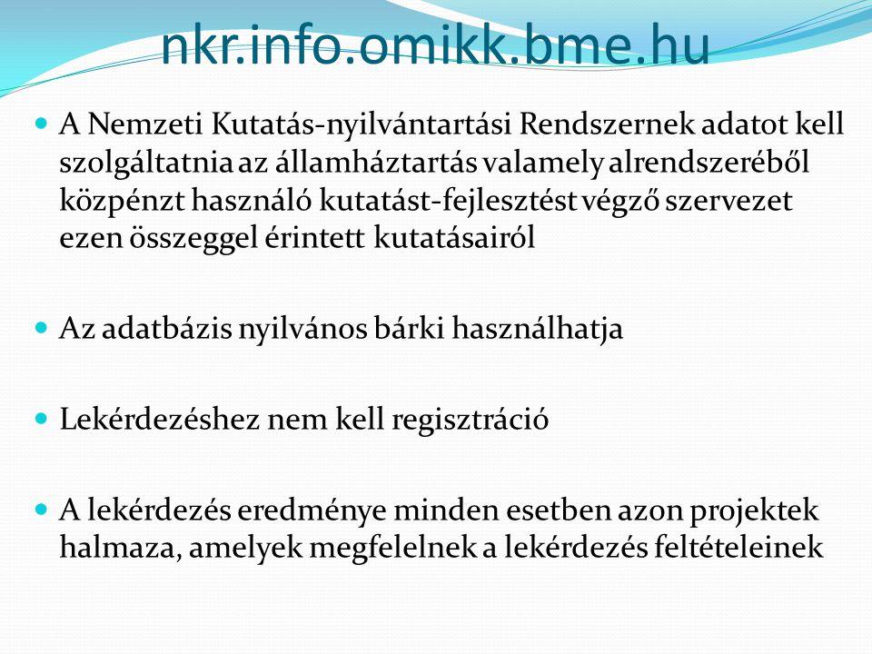 nkr.info.omikk.bme.hu A Nemzeti Kutatás-nyilvántartási Rendszernek adatot kell szolgáltatnia az államháztartás valamely alrendszeréből közpénzt használó kutatást-fejlesztést végző szervezet ezen összeggel érintett kutatásairól Az adatbázis nyilvános bárki használhatja Lekérdezéshez nem kell regisztráció A lekérdezés eredménye minden esetben azon projektek halmaza, amelyek megfelelnek a lekérdezés feltételeinek
