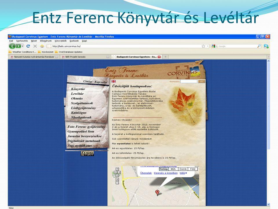 helix.uni-corvinus.hu Budapest Corvinus Egyetem könyvtári hálózatának egyik tagkönyvtára Fő gyűjtőköre: - kertészettudomány - élelmiszertudomány - táj- és kertépítészet - urbanisztika - környezetvédelem